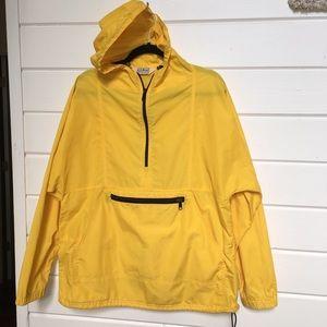 Vintage LL Bean Yellow Anorak Raincoat Sz Large